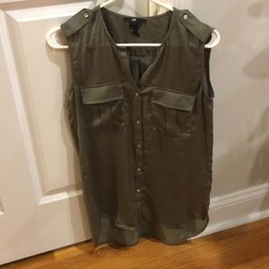 Army Green Sleeveless Blouse